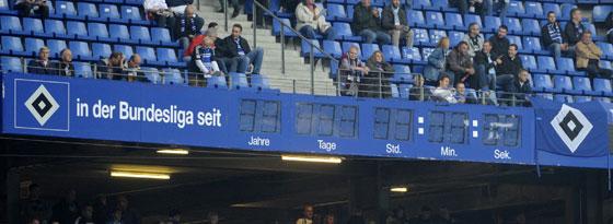 Die Stadionuhr des HSV ist irreparabel defekt