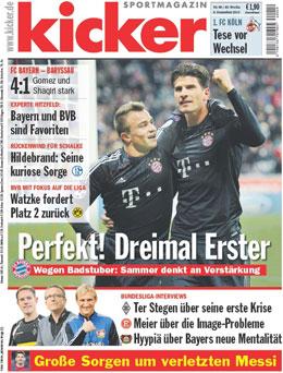 Aktuelle Ausgabe des kicker sportmagazin vom 6.12.2012