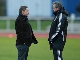 Sportvorstand Horst Heldt und Trainer Jens Keller