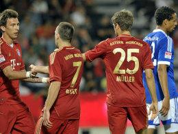 Bayerische Hauptprotagonisten: Mandzukic, Ribery und Müller nahmen Schalke in der ersten Hälfte auseinander.