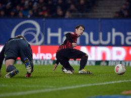 Lakic macht das 1:0 für Frankfurt, später legte er auch noch einen Treffer zum 2:0-Endstand nach.