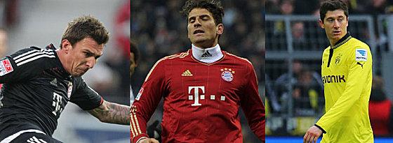 Mario Mandzukic, Mario Gomez oder Robert Lewandowski (v.li.)