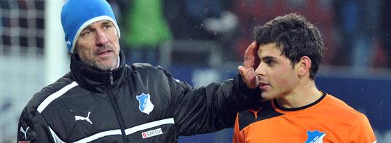 Hoffenheims Trainer Marco Kurz und Kevin Volland