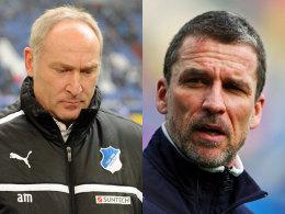 Ihre Zeit endete heute in Hoffenheim: Manager Andreas Müller und Trainer Marco Kurz.