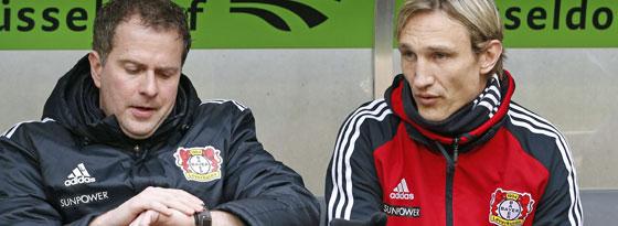 Ja, ist denn schon Saisonende? Das nicht, aber dann endet die direkte Zusammenarbeit zwischen Sascha Lewandowski (li.) und Sami Hyypiä auf der Bayer-Bank.
