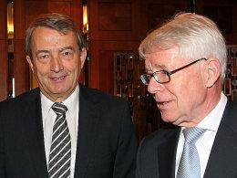 Zu Gesprächen in Frankfurt: DFB-Präsident Wolfgang Niersbach und Ligapräsident Dr. Reinhard Rauball (re.).