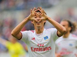 Hamburgs Son bejubelt seinen Führungstreffer bei der TSG Hoffenheim.