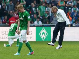Markus Gisdol jubelt über das 2:2 in Bremen