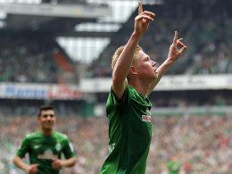 Bremens de Bruyne jubelt über den Führungstreffer gegen Frankfurt.