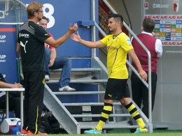 Jürgen Klopp mit Ilkay Gündogan beim 4:0-Sieg in Augsburg
