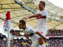 Dieses Duo zerlegt Hoffenheim: Die Stuttgarter Maxim und Ibisevic.
