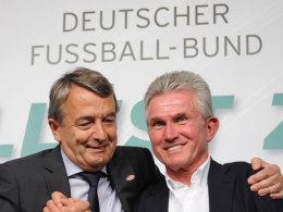 Jupp Heynckes (r.) mit Wolfgang Niersbach in München