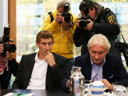 Stefan Kießling und Rudi Völler am Montag in Frankfurt/Main