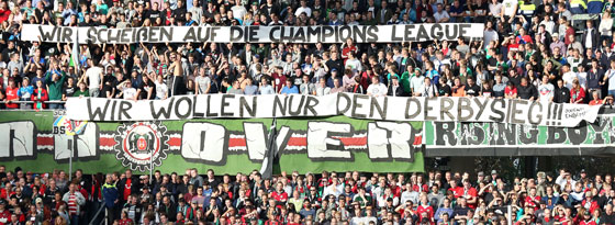 Spruchband der 96-Fans beim Heimspiel gegen Hoffenheim (1:4)
