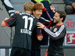 Alle Leverkusener Torschützen: Kießling, Son und Castro.