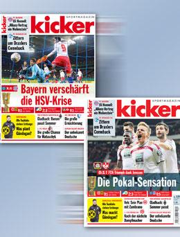 Die kicker-Titel der aktuellen Ausgabe.
