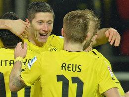 Dürften gegen die Borussia aus Mönchengladbach wieder dabei sein: Die BVB-Offensivspieler Robert Lewandowski und Marco Reus.