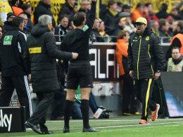 Jürgen Klopp wenige Minuten vor dem Schlusspfiff beim Dortmunder Heimspiel gegen Gladbach
