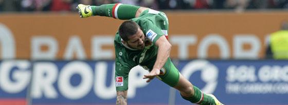 Augsburgs Stürmer Möders traf zum 1:0-Sieg gegen den FC Bayern.