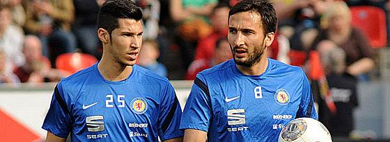 Werden am Samstag gegen den FC Bayern im Fokus stehen: Braunschweigs Innenverteidiger Marcel Correia (li.) und Deniz Dogan.
