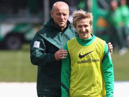 Marko Marin mit Thomas Schaaf, hier im Juli 2011 bei Werder Bremen
