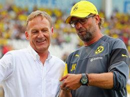Sie müssen bei Reus Überzeugungsarbeit leisten: BVB-Boss Hans-Joachim Watzke und Trainer Jürgen Klopp.