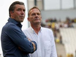 Haben die Giftpfeile aus München endgültig satt: BVB-Sportdirektor Michael Zorc (li.) und Vorstandsvorsitzender Hans-Joachim Watzke.