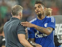 Schalkes Trainer Jens Keller und Kevin-Prince Boateng.