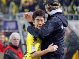 Bild aus vergangenen, glücklicheren Tagen: Shinji Kagawa und BVB-Coach Jürgen Klopp.