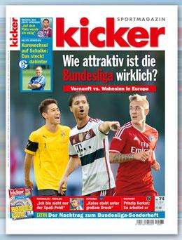 Die neue Ausgabe des kicker sportmagazin.