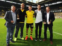 Rainer Franzke, Jürgen Klopp, Erik Durm, Mats Hummels und Oliver Bitter (v.li.)