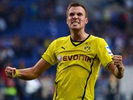 Kevin Großkreutz jubelt nach dem Dortmunder 3:1 auf Schalke im Oktober 2013