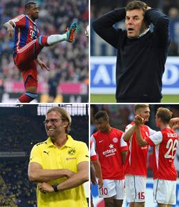 Protagonisten des 13. Spieltags: Bayerns Boateng, Wolfsburgs Hecking, die Trainer Schaaf und Klopp sowie Choupo-Moting und Kirchhoff.