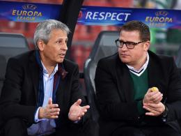 Lobt den Trainer in h�chsten T�nen: Gladbachs Sportdirektor Max Eberl (re.) mit Coach Lucien Favre.