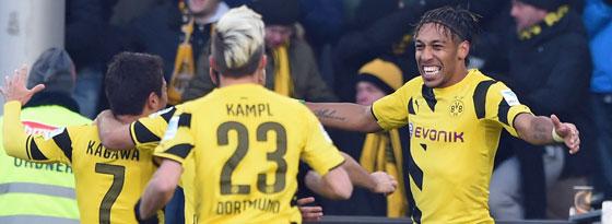 Ausnahmesituation: Dortmund jubelt dank Doppelpacker Aubameyang.