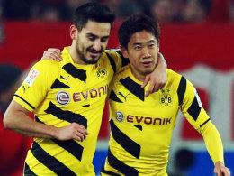 Torschütze und ein Vorlagengeber: Die Dortmunder Gündogan und Kagawa.