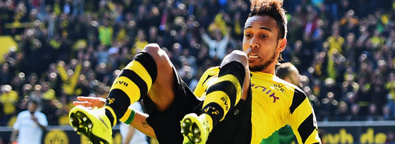 Dortmunds Aubameyang jubelt nach seinem 2:0.