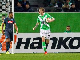 Nicklas Bendtner nach seinem Ehrentreffer gegen Neapel