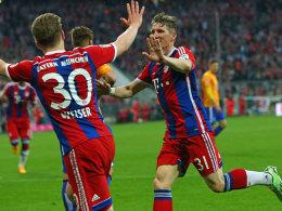 Matchwinner für die Bayern und der Vorbereiter Weiser: Bastian Schweinsteiger traf zum 1:0 gegen die Hertha.