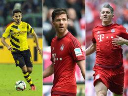 Wer beackert im nächsten Jahr das Bayern-Mittelfeld? Ilkay Gündogan, Xabi Alonso und Bastian Schweinsteiger (v.l.n.r.).
