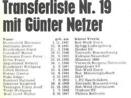 Zu G�nter Netzers Zeiten noch in gedruckter Form: Die Transferliste aus dem kicker-sportmagazin Nr. 53/1973.