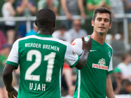 """""""Ein Glücksgriff für Werder"""": Bremens Fin Bartels (re.) lobt Neuzugang Anthony Ujah."""