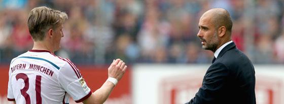Bastian Schweinsteiger mit Pep Guardiola