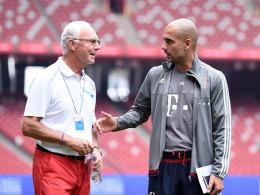 Franz Beckenbauer mit Pep Guardiola am Freitag