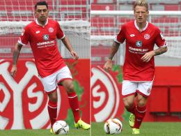 Machen im Trainingslager in Frankreich auf sich aufmerksam: Die Mainzer Gonzalo Jara (li.) und Niki Zimling.