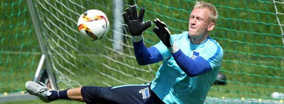 Auf dem Sprung nach Oslo zu Valerenga: Hertha-Keeper Sascha Burchert.
