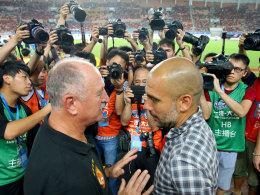 Zwei der großen ihrer Zunft: Luiz Felipe Scolari (li.) und Bayern-Coach Pep Guardiola im Gespräch.