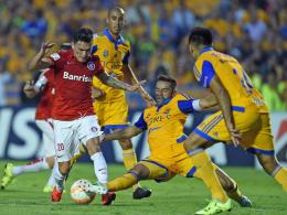 Bayer kämpft um ihn, doch es gibt Mitbewerber: Charles Aranguiz (li.), hier bei der Copa Libertadores gegen Juninho und Rivas (re., Tigres).