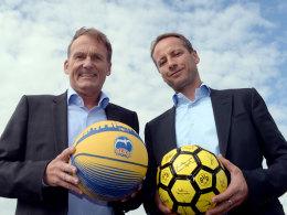 BVB-Boss Hans-Joachim Watzke und ALBA Berlins Aufsichtsratschef Dr. Axel Schweitzer begründeten die neue Kooperation.