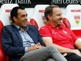 Robin Dutt mit Alexander Zorniger beim Testspiel gegen Manchester City